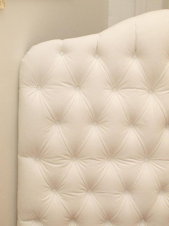 Contemporary Tufted White Velvet Queen Headboard