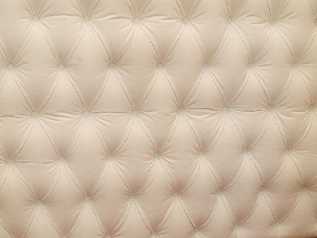 Tufted White Velvet Queen Headboard 1