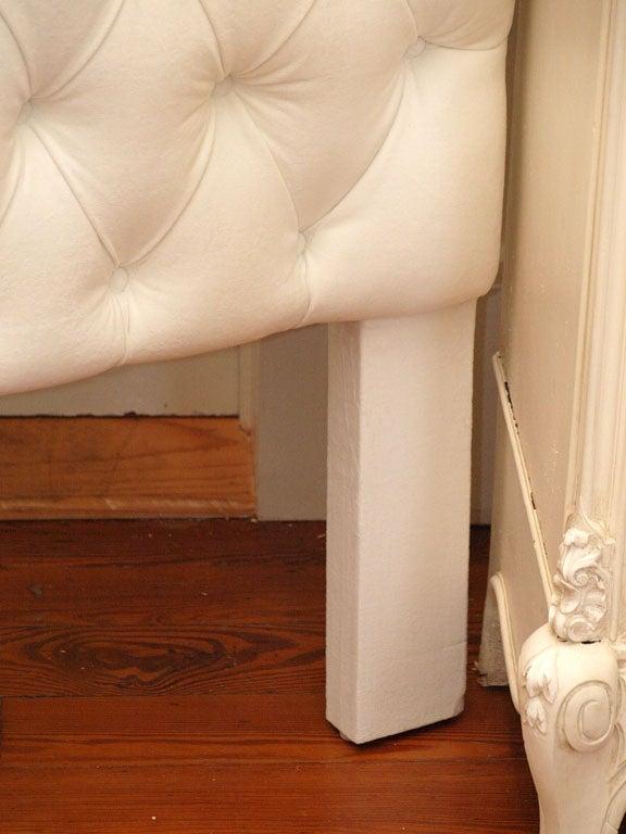 Tufted White Velvet Queen Headboard 2