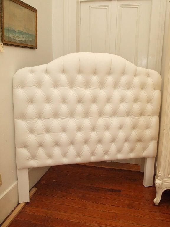Beautiful tufted headboard in white velvet (microfiber).  Queen size.