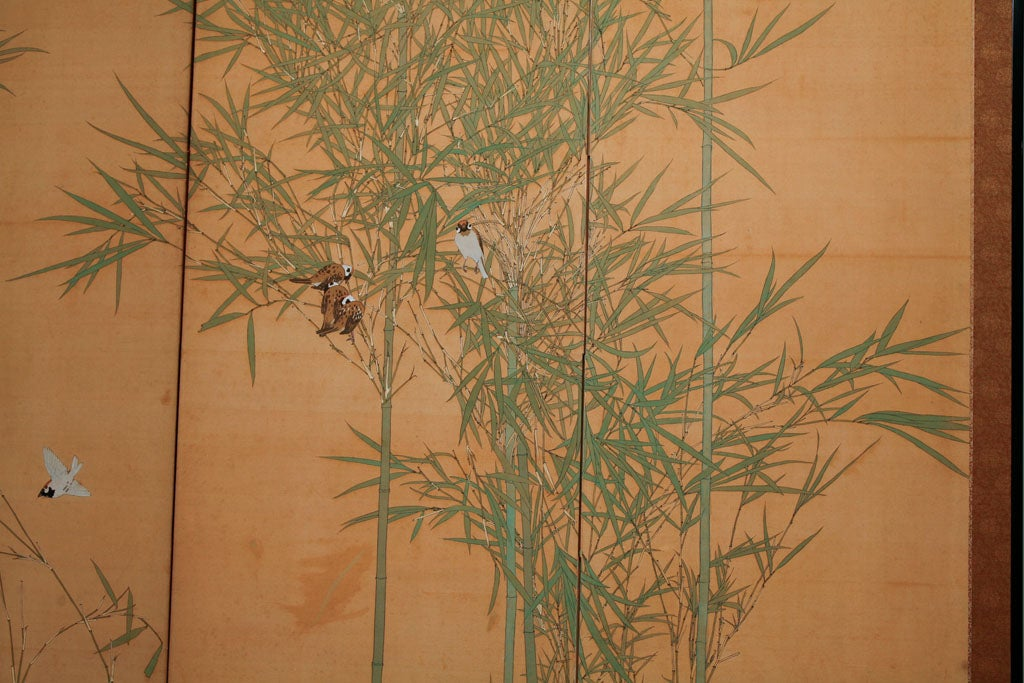 japanese screen painting of bamboo and finches on silk On japanese silk paintings value