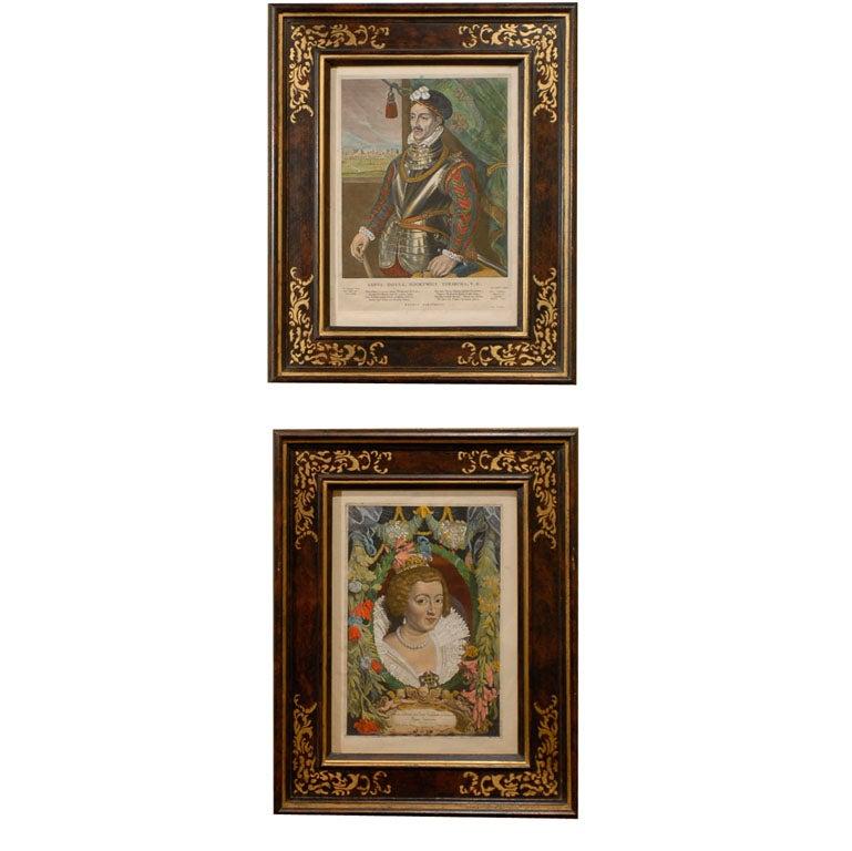 17th Century Hand Colored Dutch Portraits of Nobleman, Circa 1649