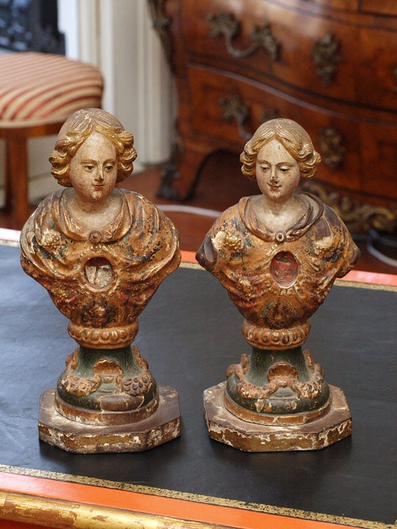 PAIR OF 18TH C ITLAIAN RELIQUARY WITH ORIGINAL GILT AND POLYCHROME