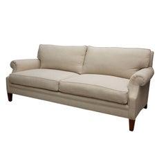 """Elton"" by Lee Stanton Upholstered Sofa in Belgium Linen or Custom Fabric"