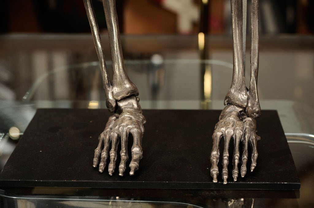 American Articulated Silvered Bronze Anatomically Correct Skelton For Sale