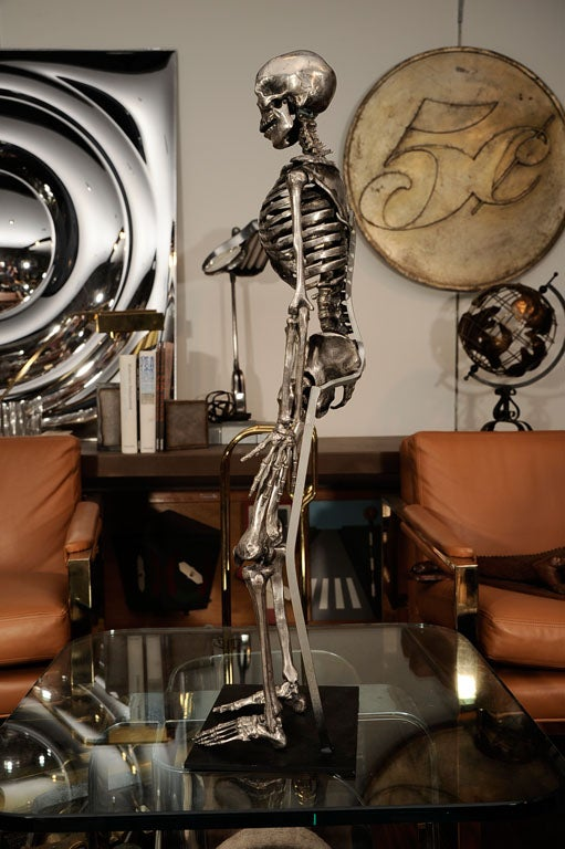 Mid-20th Century Articulated Silvered Bronze Anatomically Correct Skelton For Sale