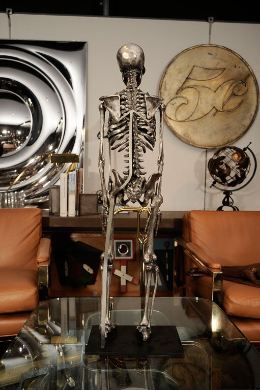 Articulated Silvered Bronze Anatomically Correct Skelton For Sale 1