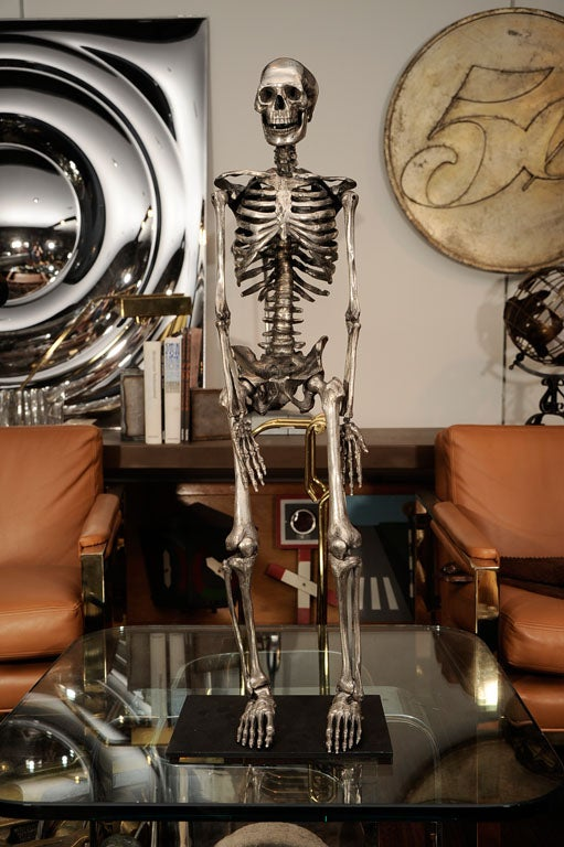 Articulated Silvered Bronze Anatomically Correct Skelton For Sale 3