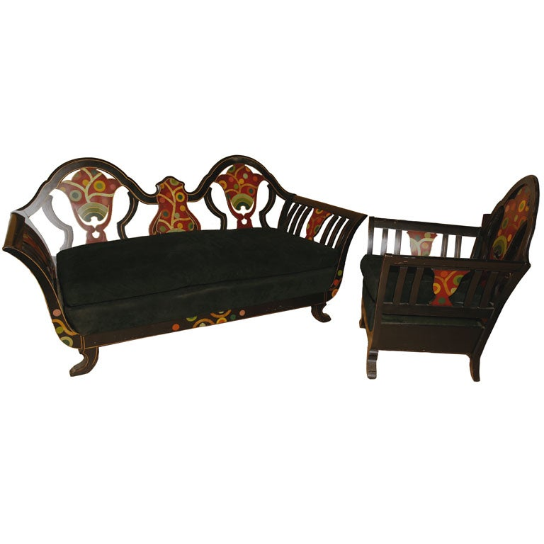 Vienna secession style sofa and club chair at 1stdibs