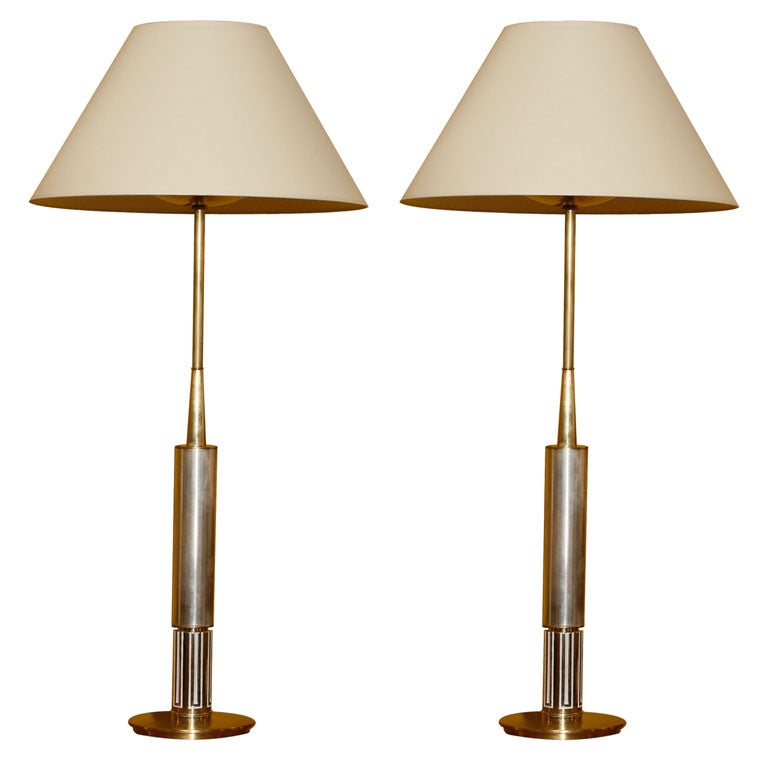tall brass and brushed nickel table lamps at 1stdibs. Black Bedroom Furniture Sets. Home Design Ideas