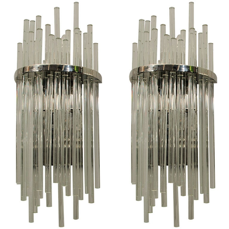 Pair of Large Murano Glass Rod Sconces at 1stdibs