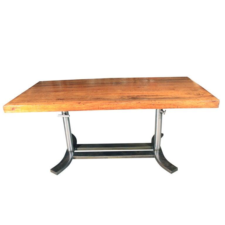 industrial butcher block table at 1stdibs. Black Bedroom Furniture Sets. Home Design Ideas
