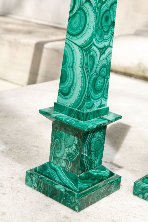 Italian Pair Malachite Obelisks