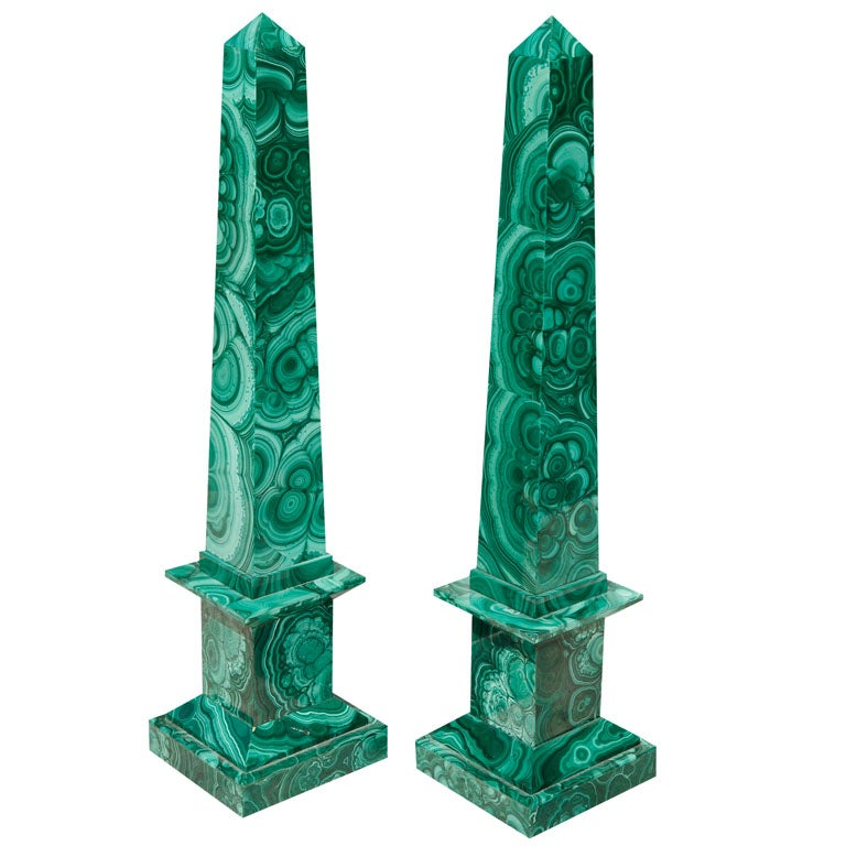 Pair Malachite Obelisks
