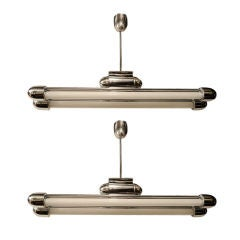 Pair of Machine Age Chrome Fixtures with Streamline Design