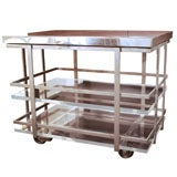 Karl Springer Chrome and Lucite Bar Cart