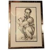 Crouching Male Figure by Louis Wolchonok