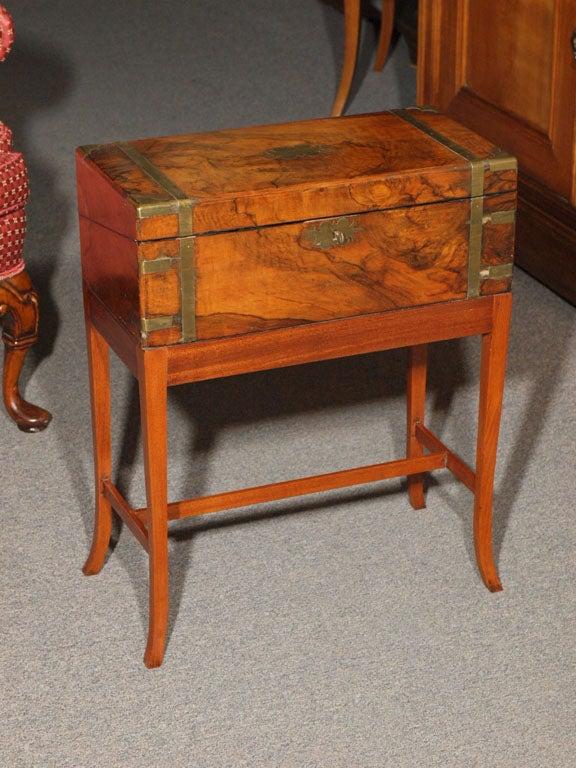 Antique English Burl Walnut Lap Desk On Stand At 1stdibs