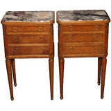 Pair antique French amboyna wood and marble top bedside cabinets