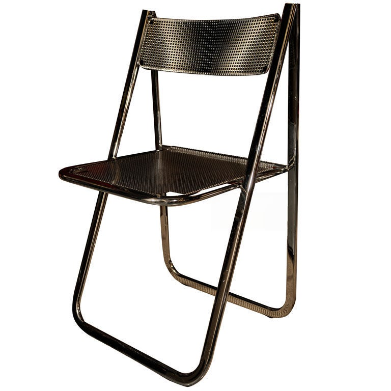 italian perforated chrome desk chair after philippe starck. Black Bedroom Furniture Sets. Home Design Ideas