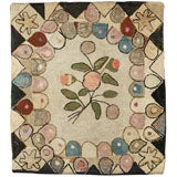 """American Floral Hooked Rug Wall Mounted 42"""" x 31"""""""