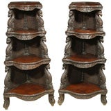 Pair of Anglo-Indian Carved Etageres