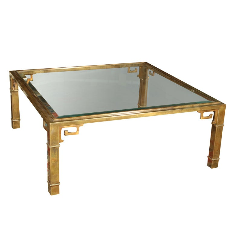 Square brass mastercraft cocktail coffee table with glass for Designer cocktail tables glass