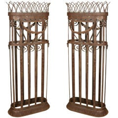 Pair French Jardinière Iron Tall Garden Planters Baskets