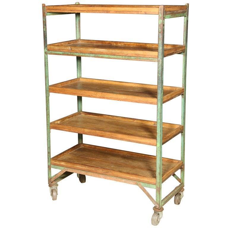 rolling shelves industrial cart shoe trolly at 1stdibs. Black Bedroom Furniture Sets. Home Design Ideas