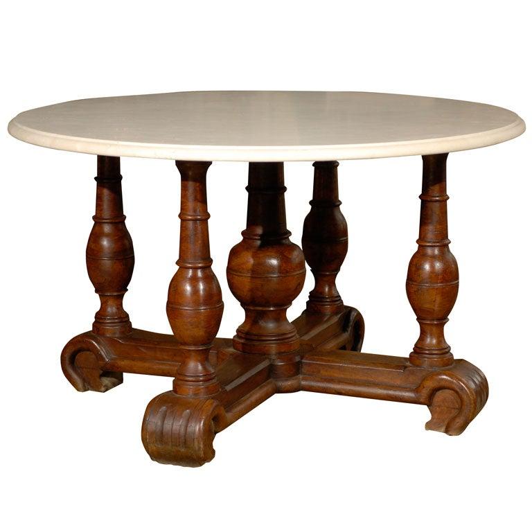 Louis XIII Walnut Table Base/Crema Marfil Marble