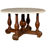 Louis XIII Walnut Table Base/Crema Marfil Marble