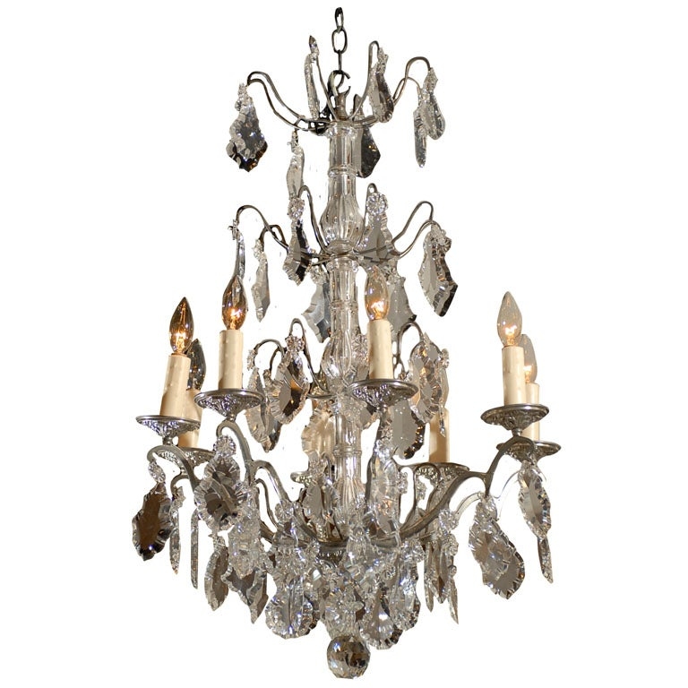 Bacarrat Crystal and Silver Chandelier at 1stdibs