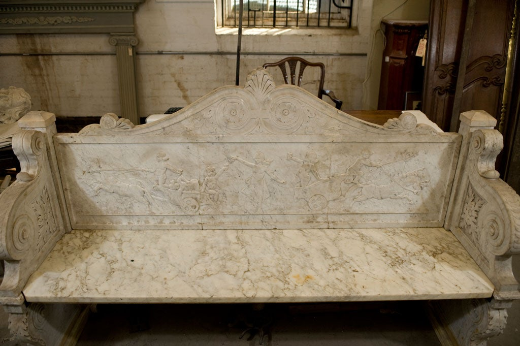 Carved Marble Bench 10