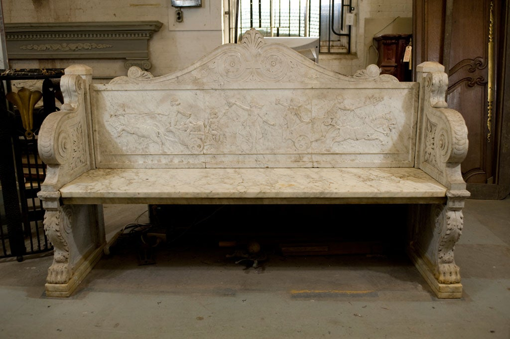 Carved Marble Bench 2