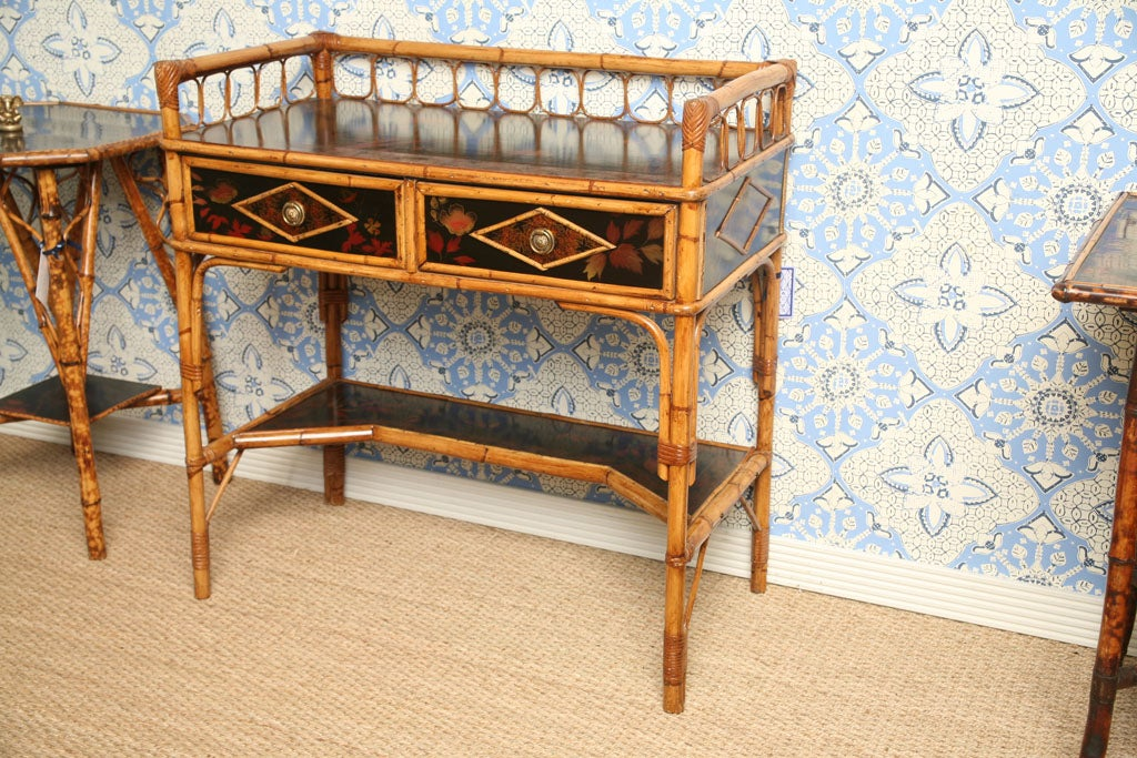 Beautiful 19th century writing table or desk with two drawers and japanning,