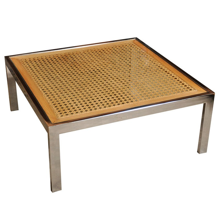Chrome And Cane Coffee Table By Milo Baughman At 1stdibs