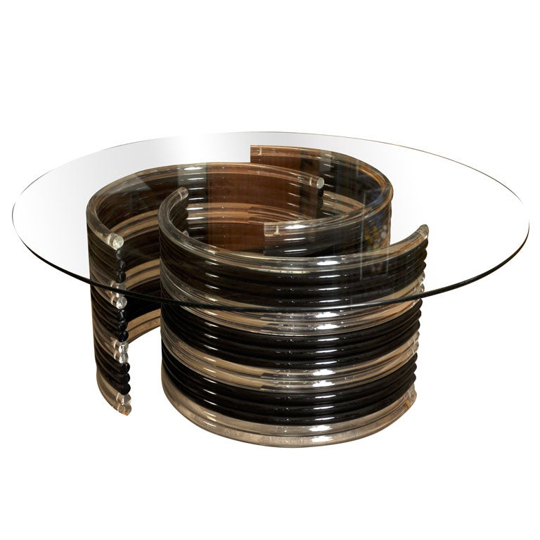 Black And Clear Lucite Coffee Table At 1stdibs