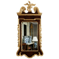 18th Century English Georgian Mahogany and Gilt Mirror