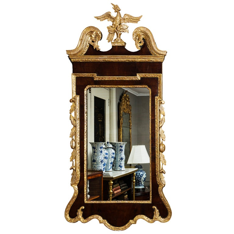 18th Century English Georgian Mahogany and Gilt Mirror 1