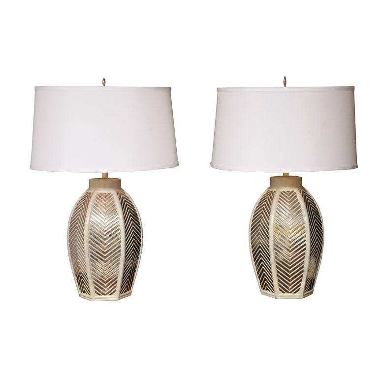 LARGE ,ELEGANT MIDCENTURY ITALIAN CERAMIC LAMPS