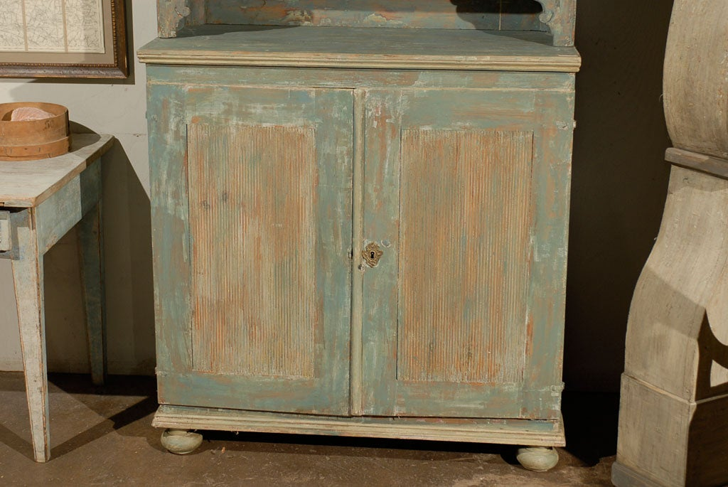 Painted Swedish 18th Century Late Gustavian Cabinet with Original Paint For Sale