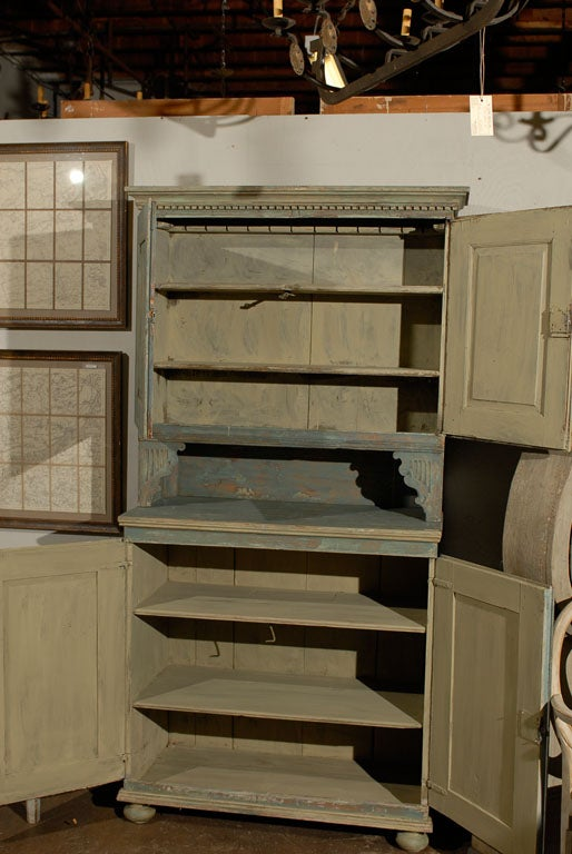 Wood Swedish 18th Century Late Gustavian Cabinet with Original Paint For Sale