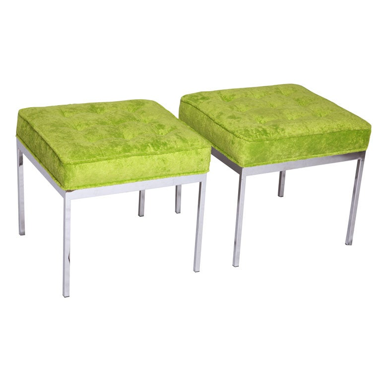 Pair Of Ottomans By Milo Baughman At 1stdibs