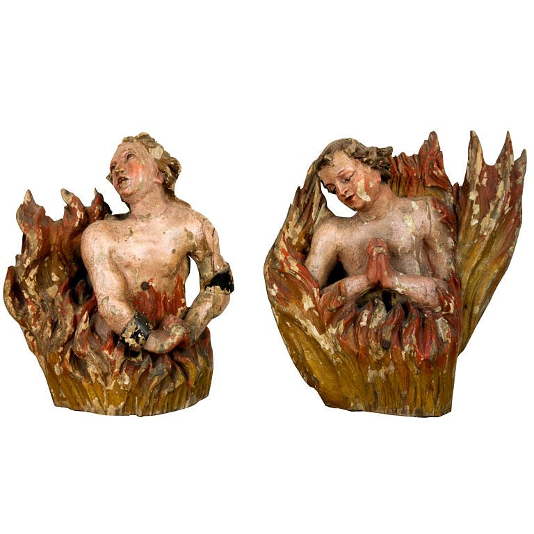 18th Century Carved and Polychromed Wood Animas Carvings For Sale