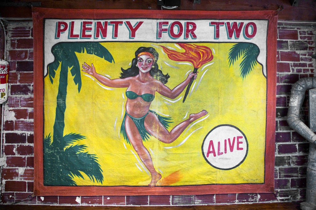 "Fantastic ""Plenty For Two"" sideshow banner painted by Snap Wyatt. Great manageable size."