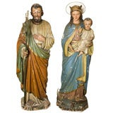 Wood Carved Holy Family by H.S. Schroeder, circa 1880