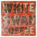 "Vintage ""White Swan Coffee"" General Store Advertising Sign"