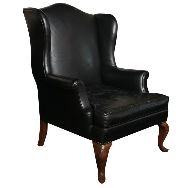 Black Leather Library Wing Back Chair At 1stdibs