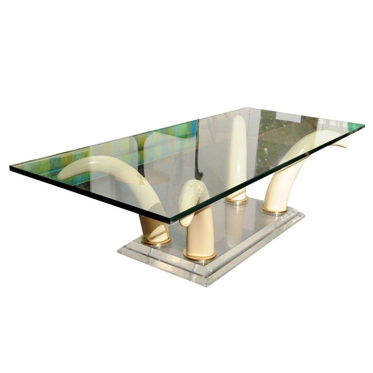 faux elephant tusk coffee table at 1stdibs