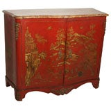 Red and Gilt Japanned Side Cabinet by Jansen